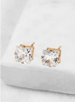 Square 6mm Cubic Zirconia Earrings - 1122071436072