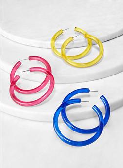 Solid Plastic Hoop Earring Trio - 1122071436113