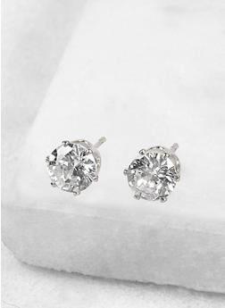 Round 6mm Cubic Zirconia Earrings - 1122071436628