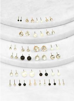 Assorted Faux Pearl Rhinestone Stud Earrings Set - 1122071437155