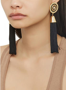 Beaded Disc Tassel Earrings - 1122071437202