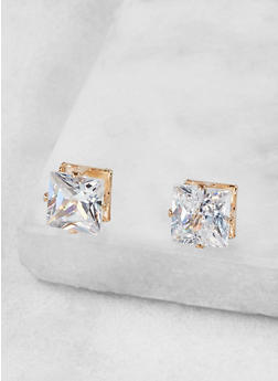 Square 8mm Cubic Zirconia Earrings - 1122071438872