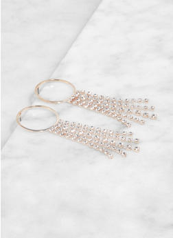 Rhinestone Fringe Post Back Earrings - 1122072690099