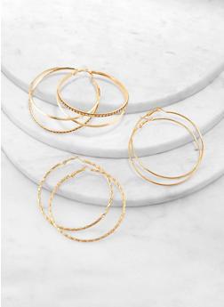 Metallic Rhinestone Hoop Earring Trio - 1122072690270