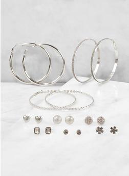 Set of 9 Glitter Hoop and Stud Earrings - 1122072690344