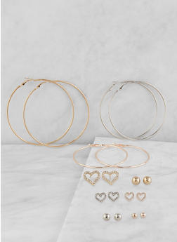 Tri Tone Hoop and Stud Earrings Set - 1122072690533