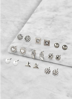 Set of 9 Assorted Stud Earrings - 1122072690591
