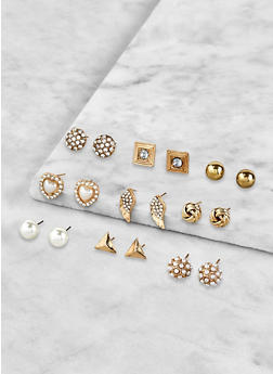 Set of 9 Assorted Stud Earrings - 1122072690591