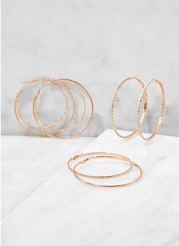 Glitter Hoop Earring Trio - 1122072690656