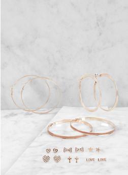Set of 9 Assorted Stud and Hoop Earrings - 1122072690732