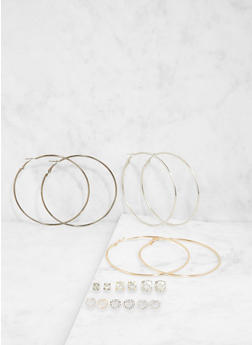 Set of 9 Assorted Stud and Hoop Earrings - 1122072690733