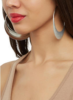 Glitter Hoop Earrings - 1122072690838