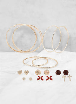 Metallic Rhinestone Stud and Hoop Earrings Set - 1122072690976