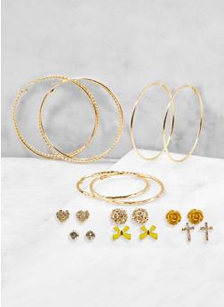 Metallic Rhinestone Stud and Hoop Earrings Set - 1122072690976