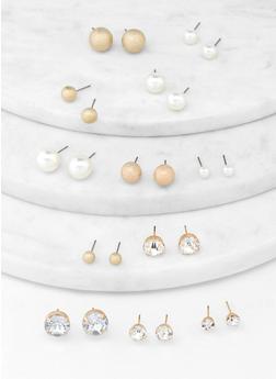 Set of 12 Round Stud Earrings - 1122072691511