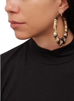 Large Metallic Bamboo Hoop Earrings - 1122072691891