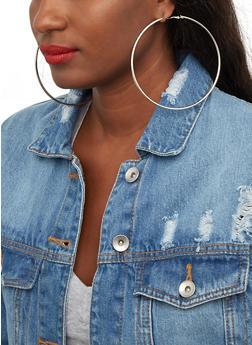 Metallic Jumbo Hoop Earrings - 1122072692405