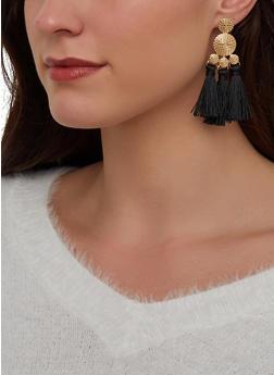 Metallic Double Tassel Drop Earrings - 1122072693365