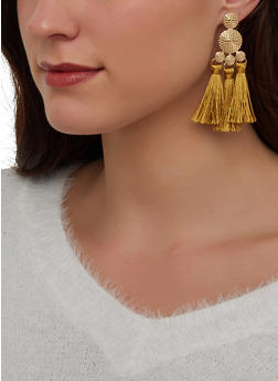 Metallic Double Tassel Drop Earrings - 1122072693365