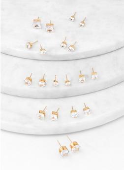 Set of 10 Cubic Zirconia Stud Earrings - 1122072693436