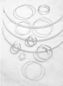 9 Variegated Textured Hoop Earrings - 1122072693464
