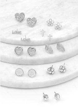 9 Assorted Cross and Leaf Stud Earrings - 1122072693523