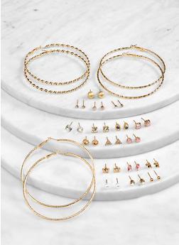 Metallic Studs and Hoop Earrings Set - 1122072694387
