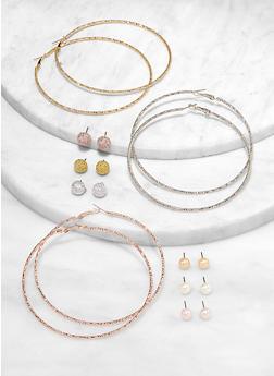 Multi Hoop and Stud Earrings - 1122072694391