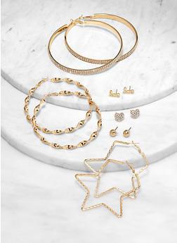 Love Stud and Star Hoop Earrings Set - 1122072694733
