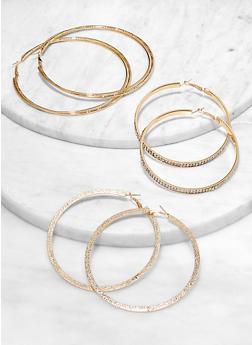 Assorted Rhinestone Flat Hoop Earring Trio - 1122072694736