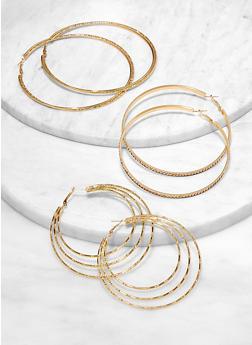 Glitter Multi Size Hoop Earring Trio - 1122072694743