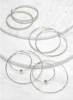 Large Textured Metallic Hoop Earrings Set - 1122072694744