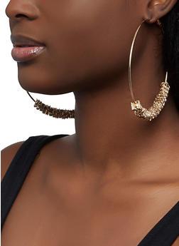 Square Rhinestone Bead Hoop Earrings - 1122072694780