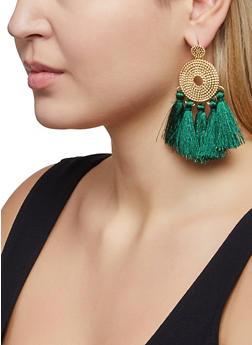 Textured Metallic Five Tassel Earrings - 1122072694811