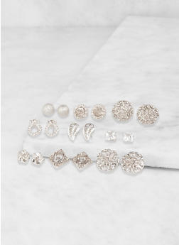 Set of 9 Assorted Stud Earrings - 1122072696283