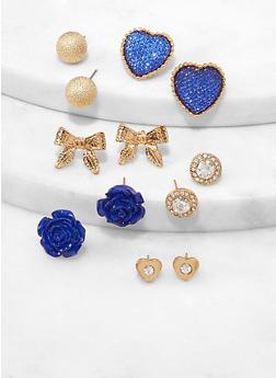 Bow Rose Stud Earrings Set - 1122072696310