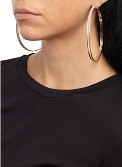 Set of 3 Large Textured Glitter Hoop Earrings - 1122072696605