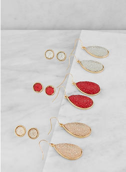 Set of 6 Pave Teardrop and Stud Earrings - 1122072697228