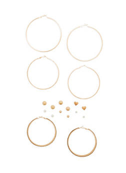 Set of 3 Large Textured Hoop Earrings and 6 Stud Earrings - 1122072697369