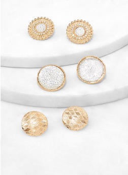 Metallic Disc Stud Earrings - 1122072697704