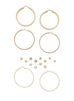Set of 6 Rhinestone Studs and 3 Large Hoop Earrings - 1122072698252