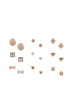9 Assorted Stud Earrings Set - 1122072698327