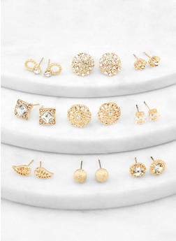Assorted Metallic Rhinestone Earrings - 1122072698362