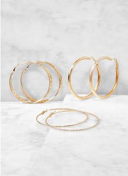 Trio of Metallic Hoop Earrings - 1122072699179