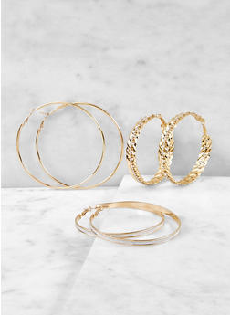 Trio of Hoop Earrings - 1122072699762
