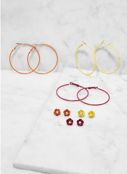 Set of 6 Colored Hoop and Stud Earrings - 1122073840078