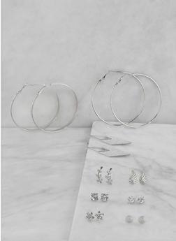 Set of 9 Assorted Metallic Rhinestone Earrings - 1122073840554