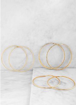 Textured Metallic Oversized Hoop Earring Trio - 1122073840661