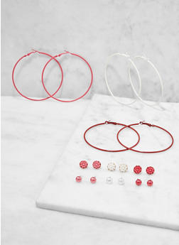 Set of 9 Colored Hoop and Stud Earrings - 1122073840678
