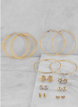 Set of 9 Hoop and Rhinestone Stud Earrings - 1122073840731